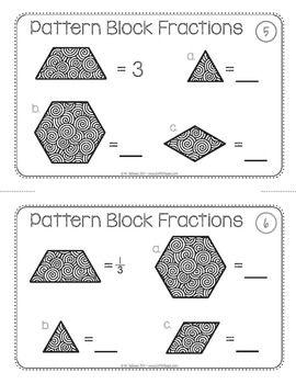 Pattern Block Fraction Task Cards Math Centers Patterns Task