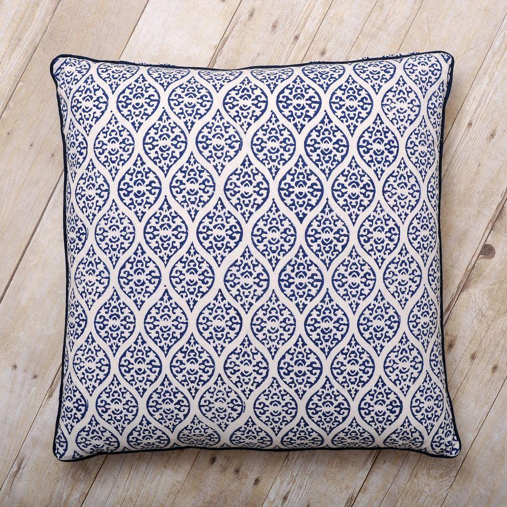 Leela block print cushion indigo fabric rug pillow talk and pillows