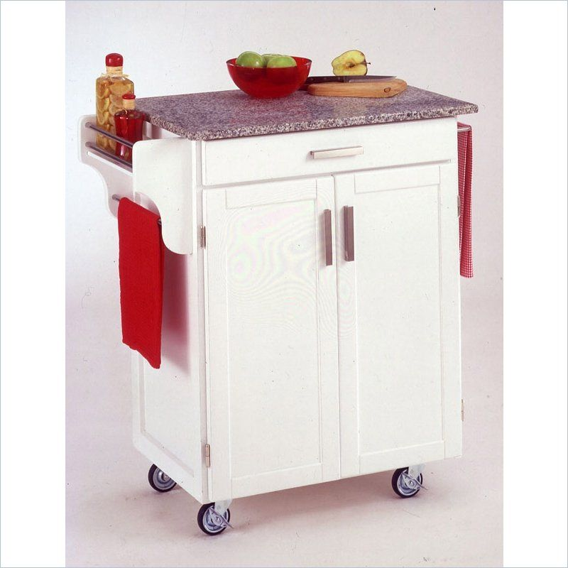 home styles furniture white wood cart with salt and pepper granite