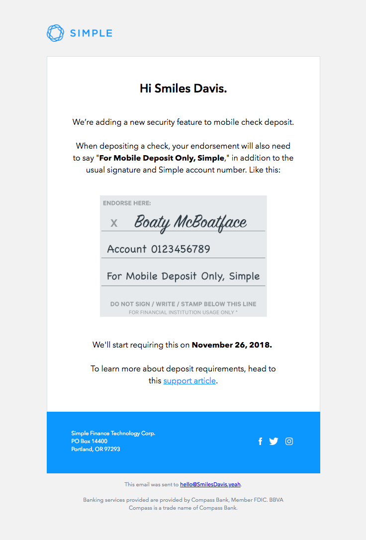 Simple Sent This Email With The Subject Line An Important Update On Mobile Check Deposit Read About This Ema Best Email Marketing Professional Grow Business