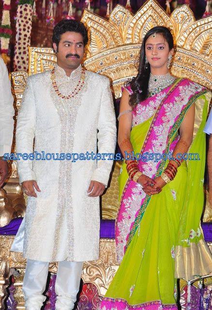 17e6fe01d2897 Sarees at Jr NTR and Laxmi Pranathi Marriage Party