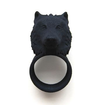 Wolf Head Ring Black by The Rogue + The Wolf