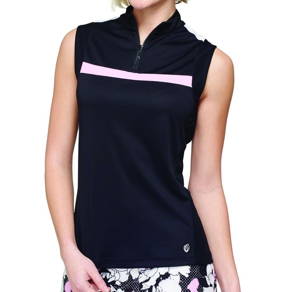 Gg Blue Black Dahlia Sara Sleeveless Polo Ladies Golf Clothes Golf Outfits Women Ladies Golf