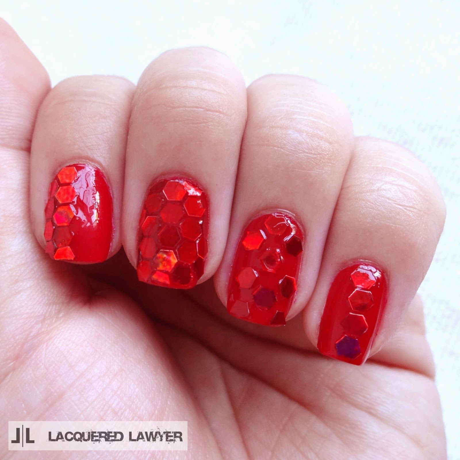June Nail Art Society - Red Glitter | Red glitter, Confetti nails ...