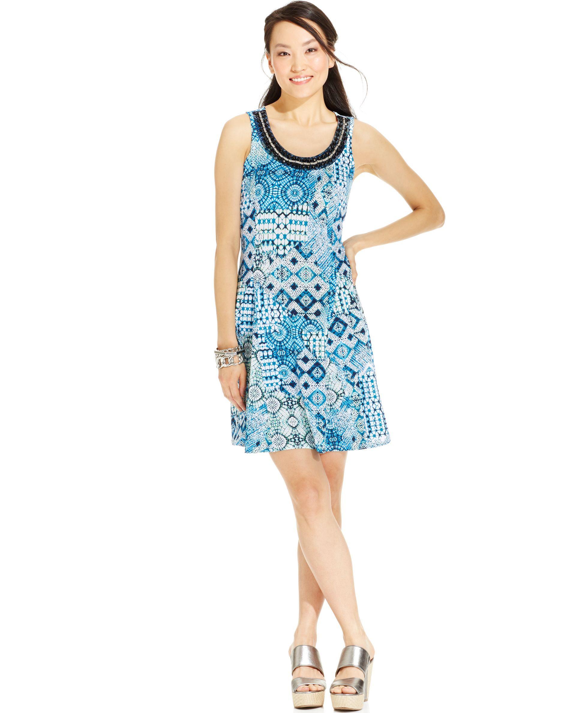 Ny Collection Petite Sleeveless Bead-Neck Shift Dress