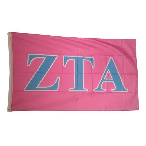 Zeta Tau Alpha Light Pink Light Blue Letter Flag 3u0027 x 5u0027 Zeta - community service letter
