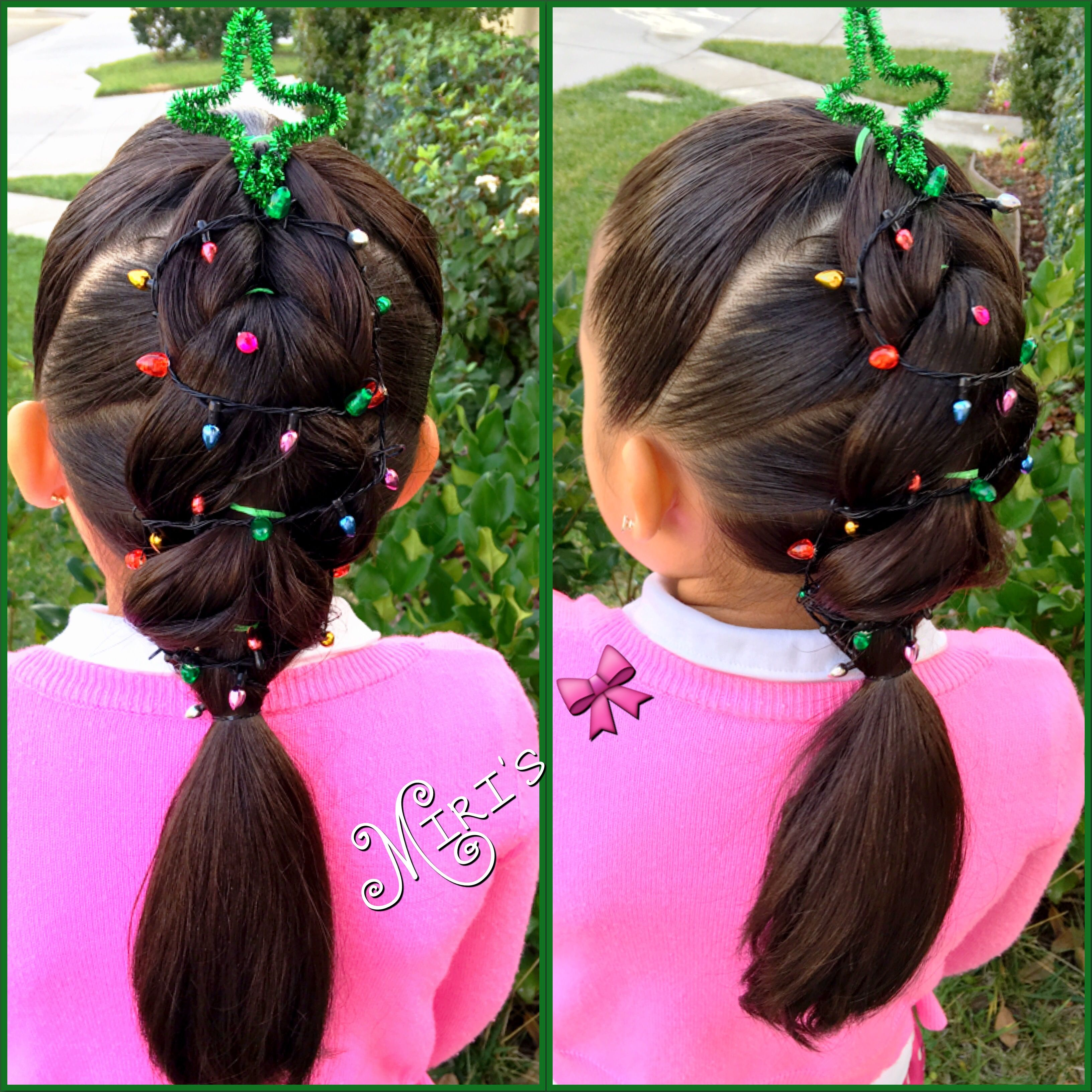 Christmas Tree hair style for little girls, Christmas hair