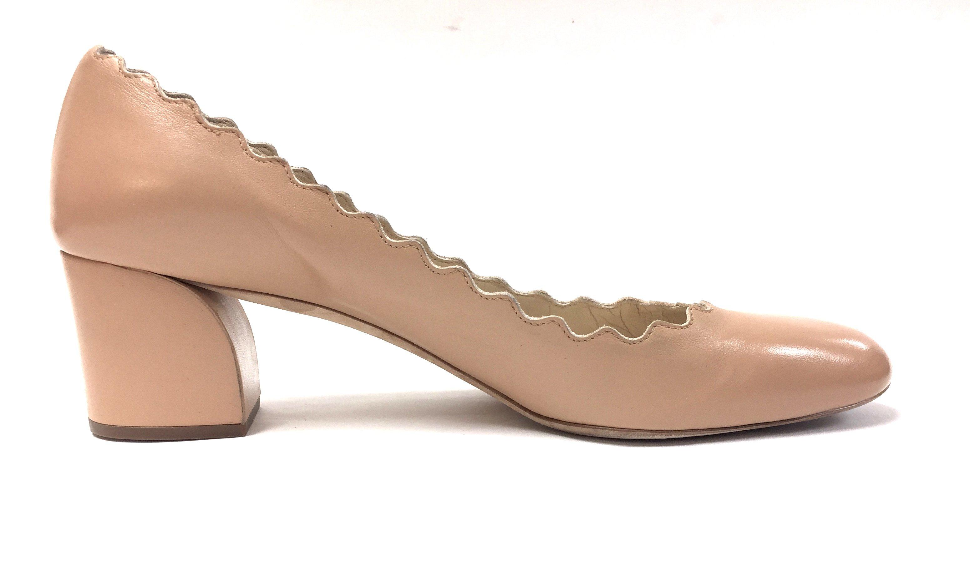 83fdbcd2735 CHLOE - LAUREN Beige Leather Scalloped-Edge Low-Heel Pumps Shoes ...