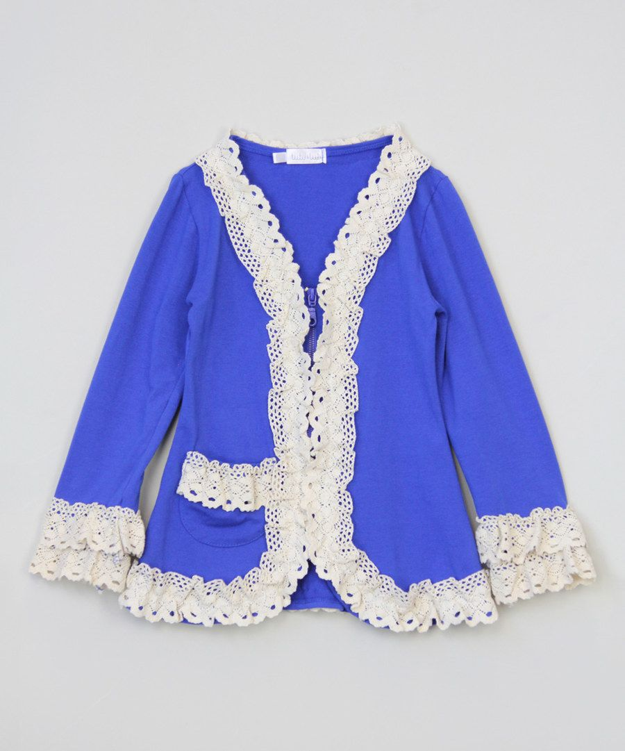 Look at this Blue Ruffle Jacket - Infant, Toddler & Girls on #zulily today!