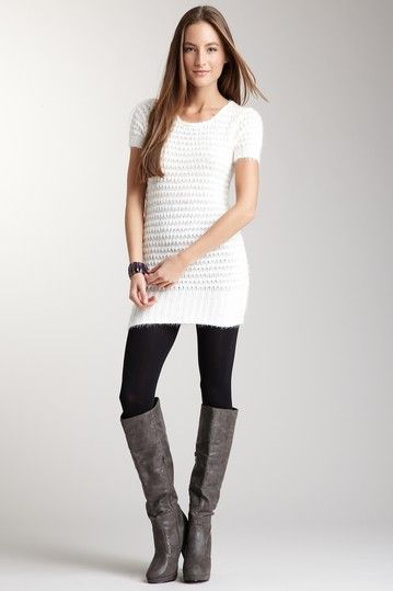 Very Cute Outfit Furry Sweater Dress Leggings And Boots Cutee