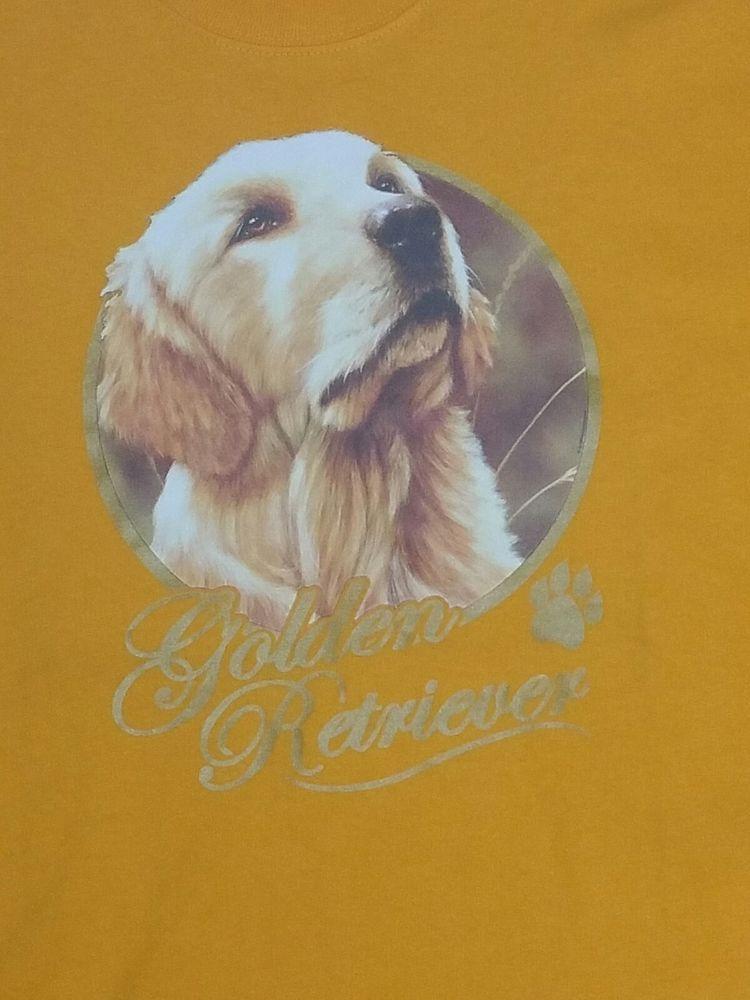 Xl 100 Cotton Dog Golden Retriever Portrait Gold T Shirt Graphic