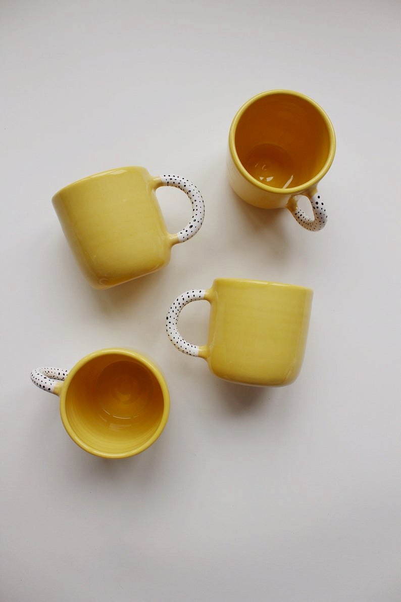 Yellow Pottery mug, Tea cup, Ceramic cup, Oversized Mug, Сoffee cup, Coffee Lovers Gift, New home gift, Housewarming gift, Ceramic mug