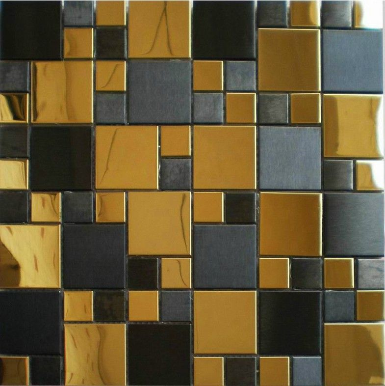 Gold Mix Black Metal Mosaic Tile Smmt037 Stainless Steel Metallic
