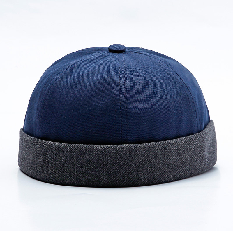 f9fed222e9eeb Mens Adjustable Solid Cotton French Bucket Cap Retro Vogue Crimping Brimless  Hats