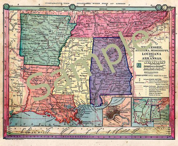 Old Map Of Tennessee Mississippi Arkansas By Vintagebarrel