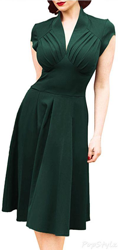 ♡☼⁀⋱‿✿★☼⁀ ♡ Viva para agradar os outros, todos ficarão contentes, exceto você. ========================= MIUSOL Deep-V Neck Cap Sleeve Vintage Dress
