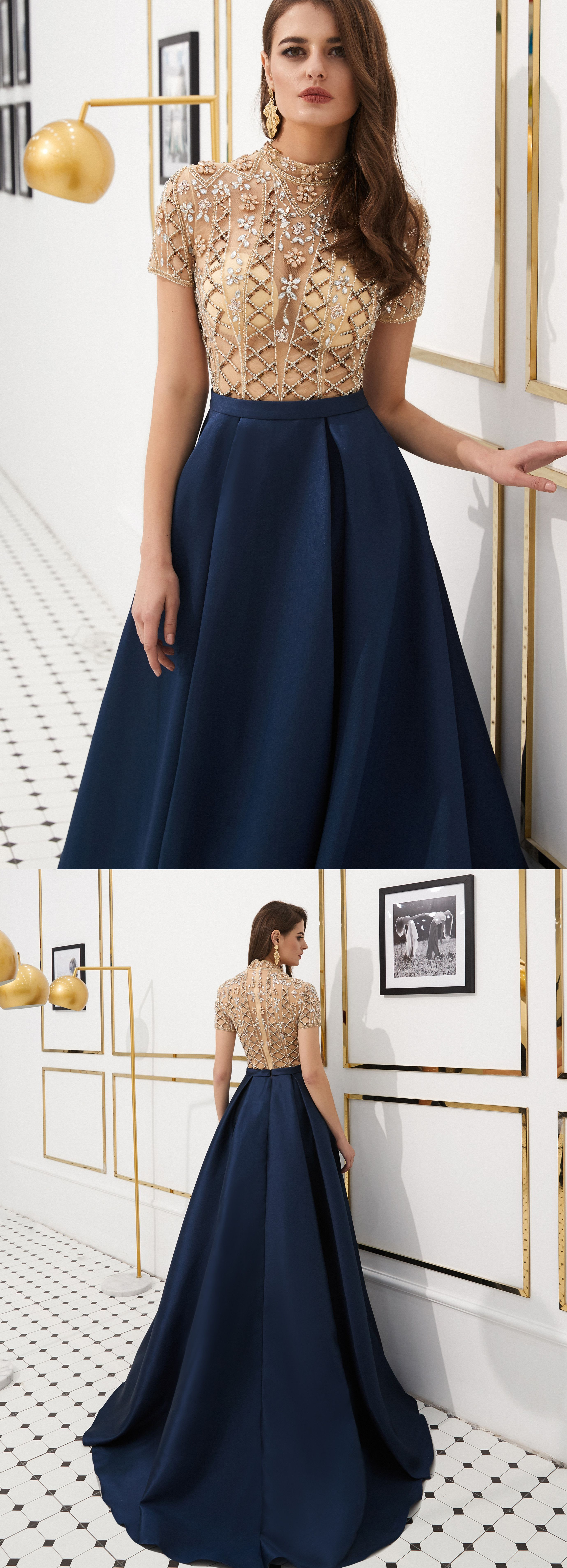 luxurious #delivery #hanmade #dresses #navy #blue #prom #high