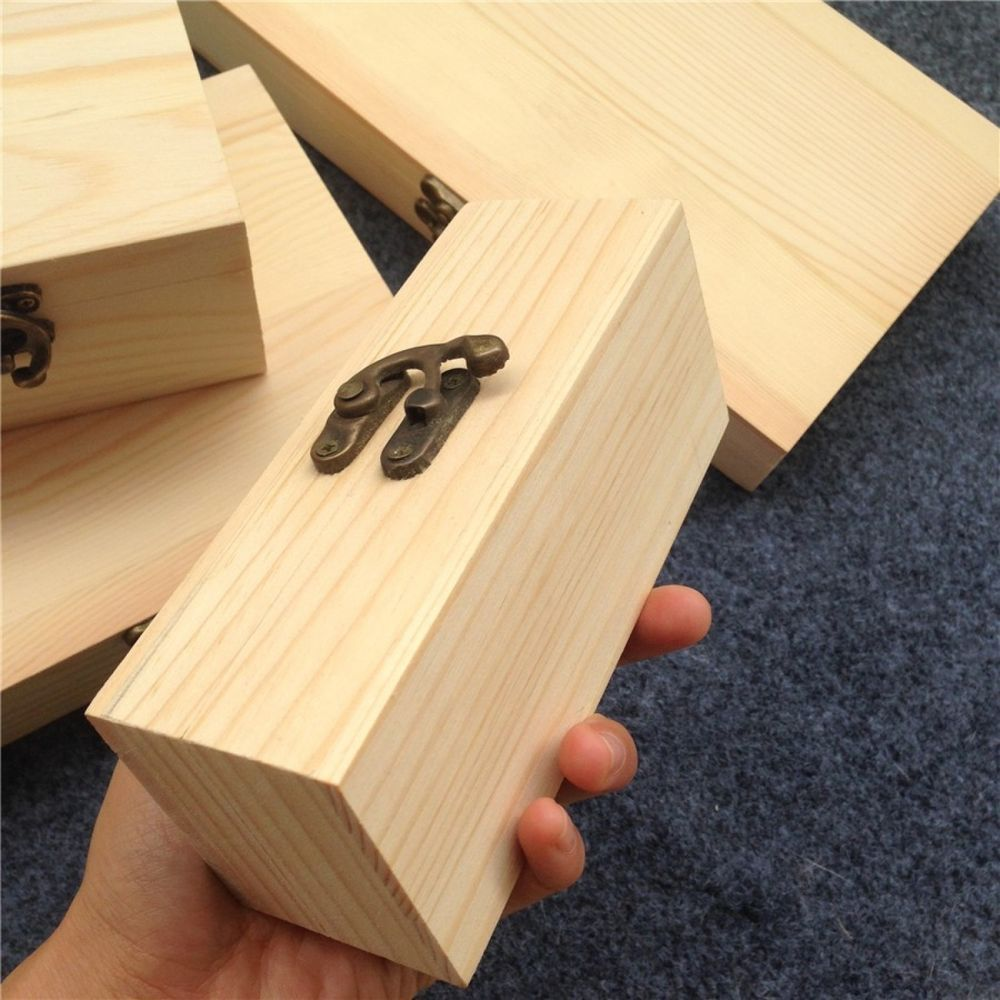 Wooden Jewelry Box Small Storage Table Gift Boxes With Lid Lock