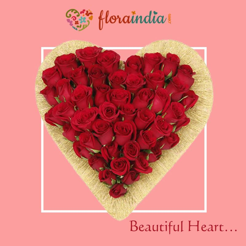 Send THREE DOZEN RED ROSES to the one you love with this 'Beautiful Heart' www.floraindia.com #roses #red
