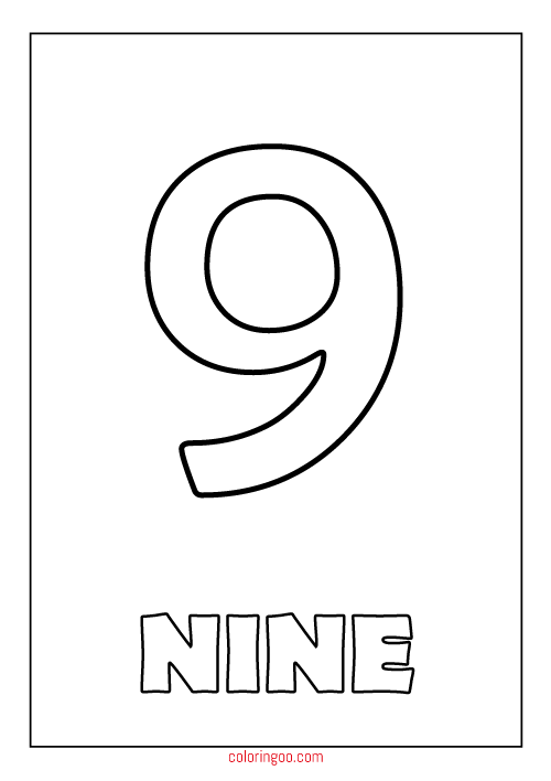 Printable Number 9 Nine Coloring Page Pdf For Kids Printable Numbers Coloring Pages Articles Printable
