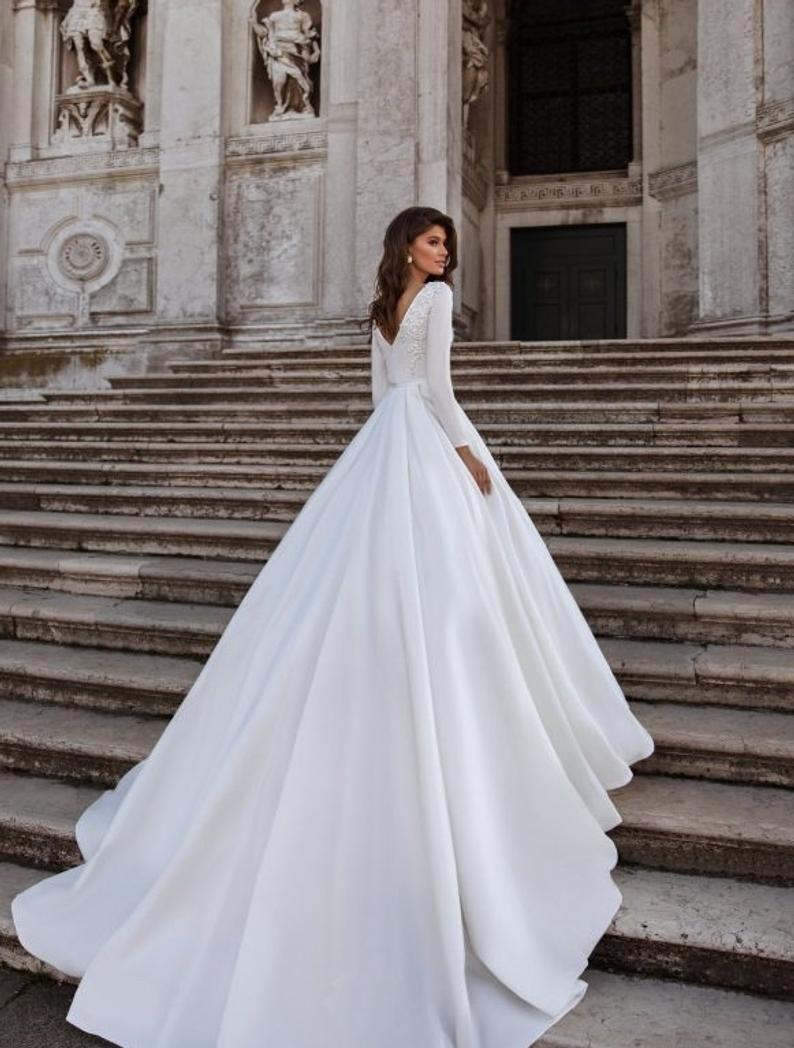 Sordamor Aline Satin Long Sleeves Wedding Dress With Etsy Ball Gowns Wedding Long Wedding Dresses Ball Gown Wedding Dress [ 1048 x 794 Pixel ]