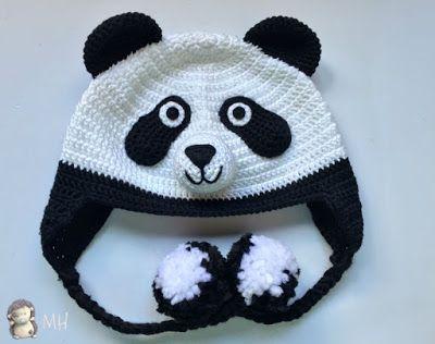 Gorro panda a crochet   bufandas y gorros   Pinterest   Gorros ...