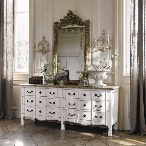 Scopri le novità per il soggiorno, camera da letto, bagno,. Commode 6 Tiroirs En Acacia Et Manguier Blanche Maisons Du Monde Furniture Mirrored Furniture Living Room Cabinets