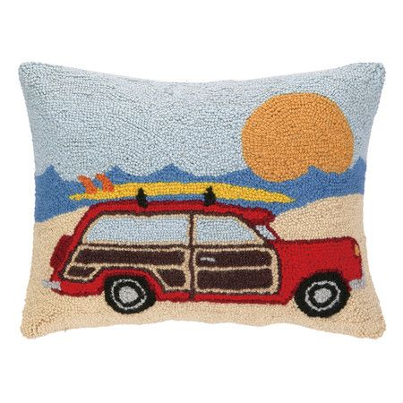 Add a delightful finishing touch to your window seat or favorite arm chair with this hand-hooked wool pillow, showcasing a beach wagon design.