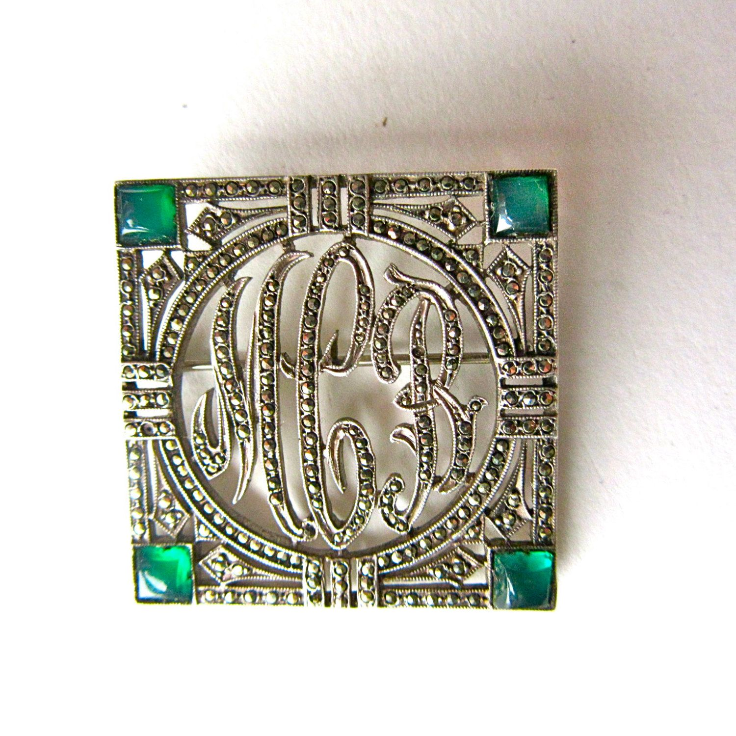 Ciner Silver Marcasite Brooch - Green Stones - Art Deco  Square Pin - 30s - Jewelry by StateAndMainVintage on Etsy