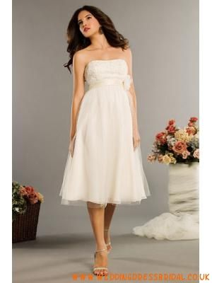 Lace Bust Tulle Tea Length Wedding Dresses 2012