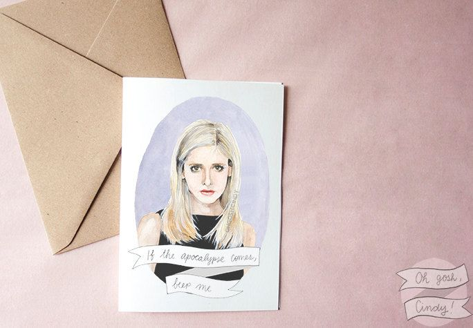 Buffy The Vampire Slayer Watercolor Portrait Greeting Card Buffy