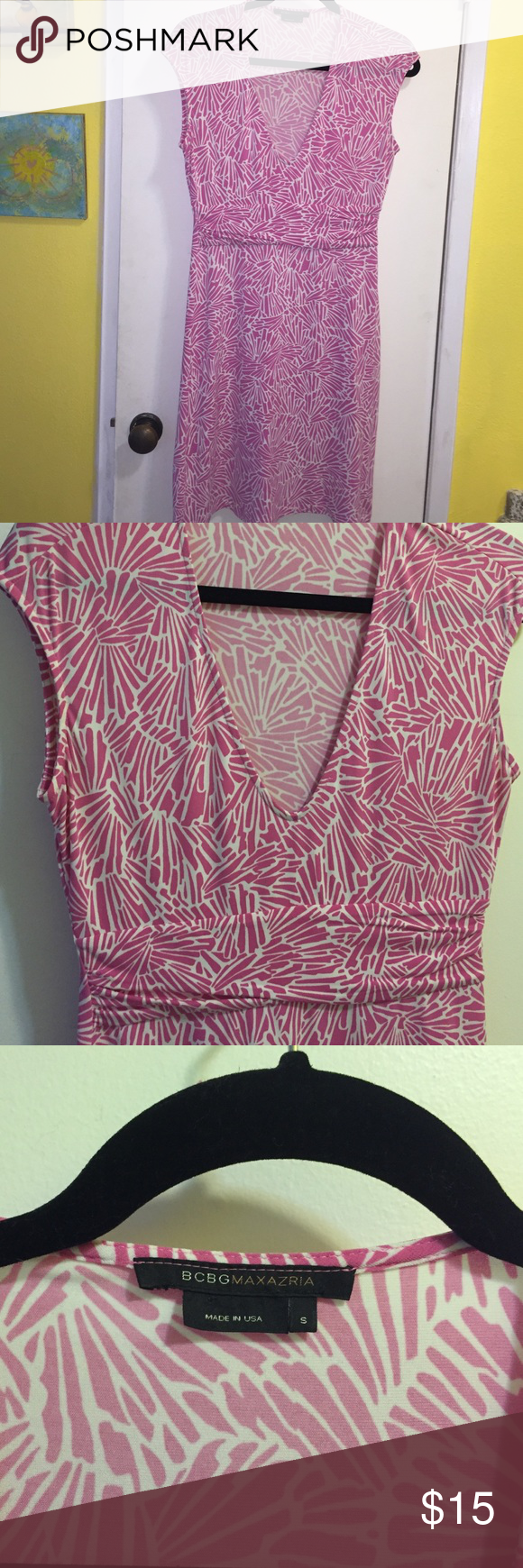 BCBGMaxAzria pink and white print dress, small BCBGMaxAzria pink and white print dress with small cap sleeves, v neck, 4 inch slit on the left side, good condition, stretch fabric, size small BCBGMaxAzria Dresses Midi