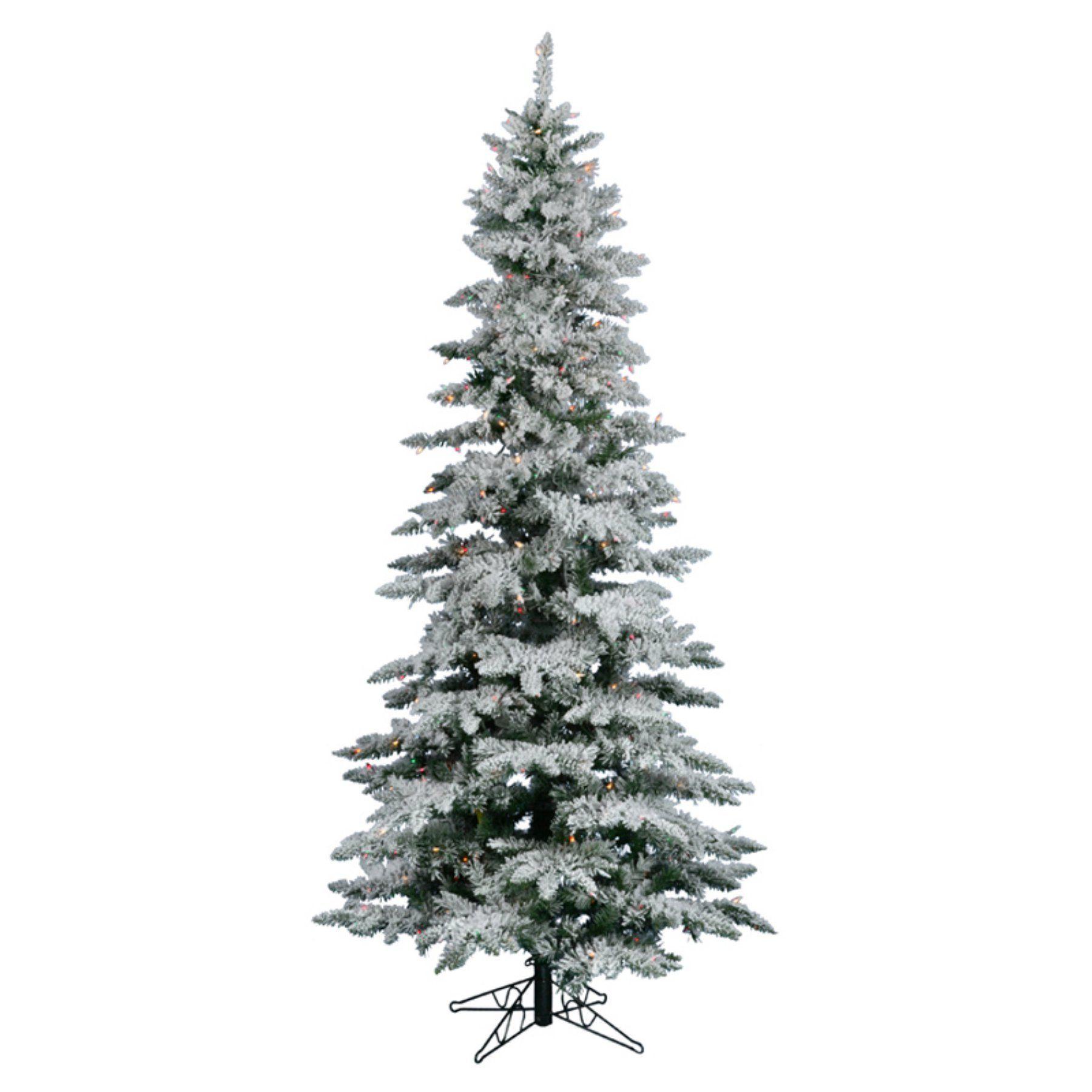 65041159003 Vickerman 6.5 ft. Flocked Slim Utica Fir Multi LED Christmas Tree -  A895067LED