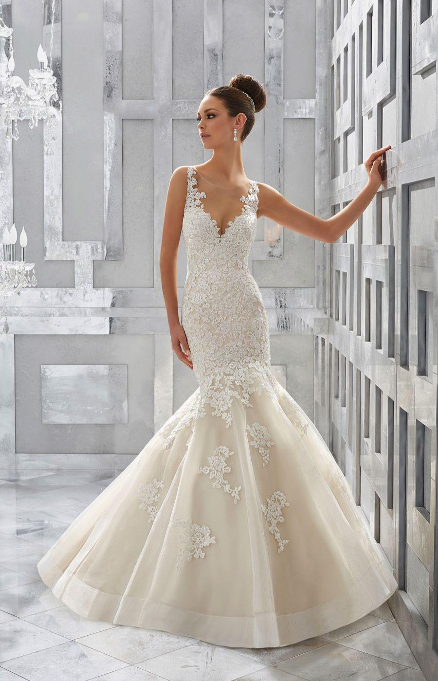 Style 5571, Meryl, Morilee Blu. Alençon lace appliqué fit