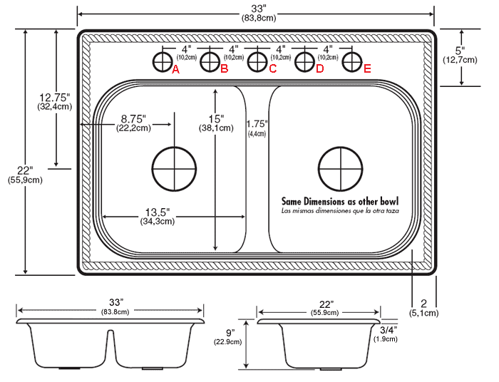 Image result for kitchen double sink dimensions