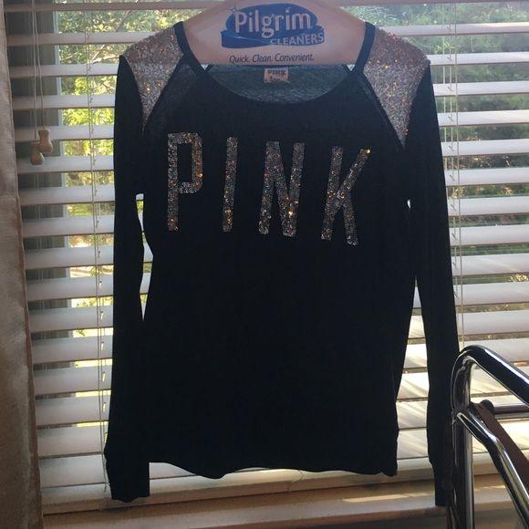 Black Victoria's Secret pink top Black long sleeved Victoria's Secret pink top PINK Victoria's Secret Tops Tees - Long Sleeve