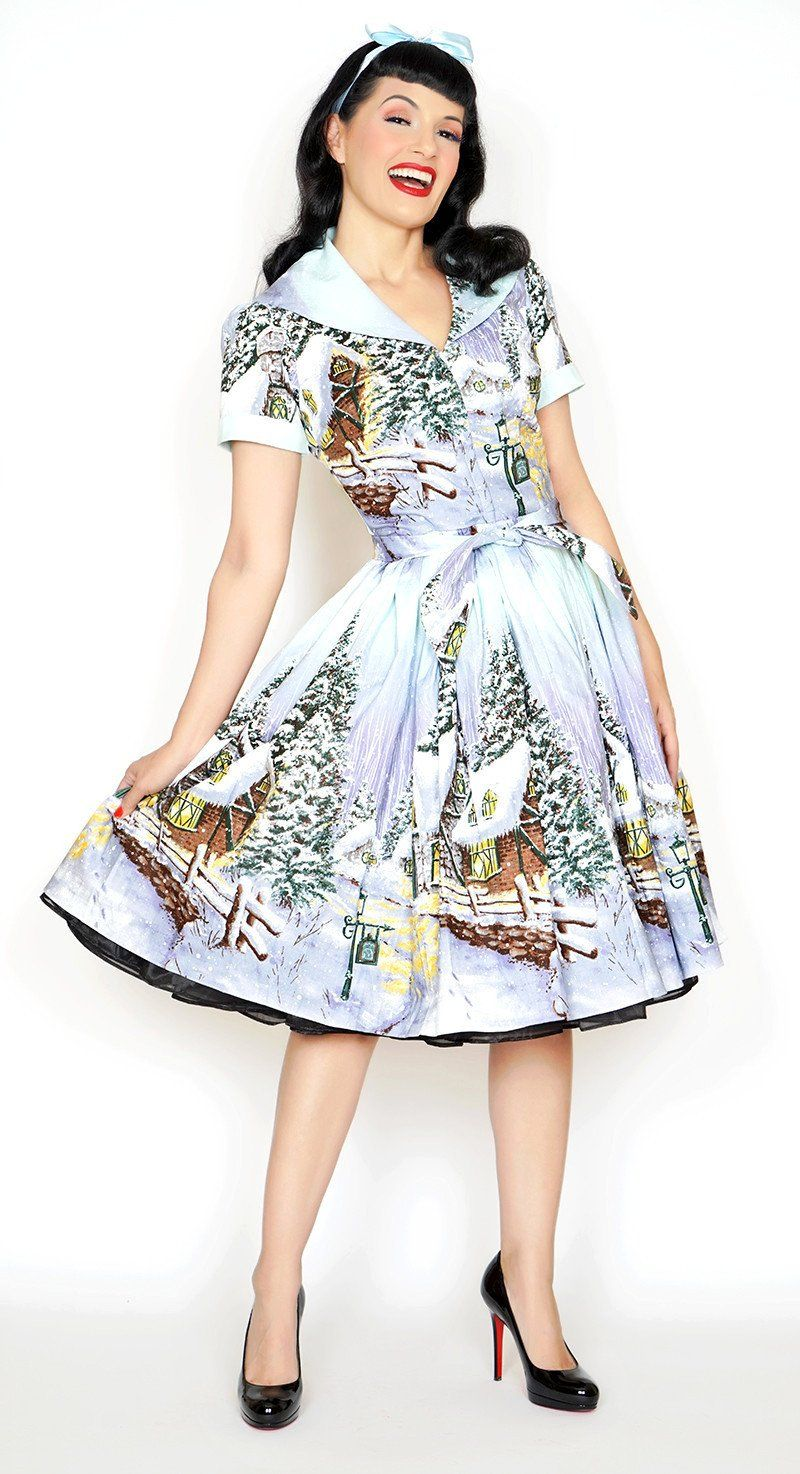 1790dfd33f Bernie Dexter Pin up Lauren Dress in Winter Wonderland print is bound to be  a new favorite! In the spirit of the wonderful Kelly Style