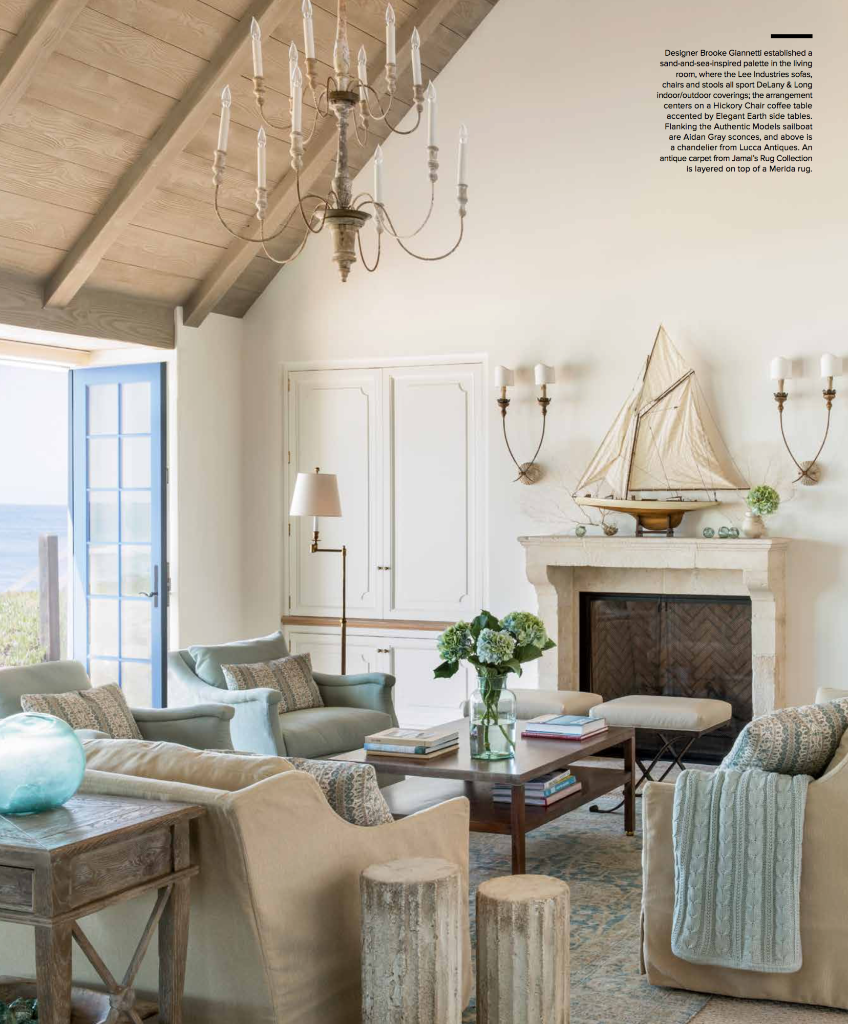 The living room color palette was inspired by the beach location ...