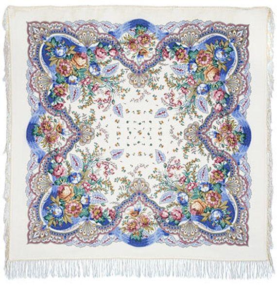 russian shawl genuine Pavlovo Posad 57 babushka by LibelluleDO