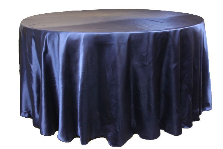 "Satin 120"" Round Tablecloth Navy Blue party peacock"