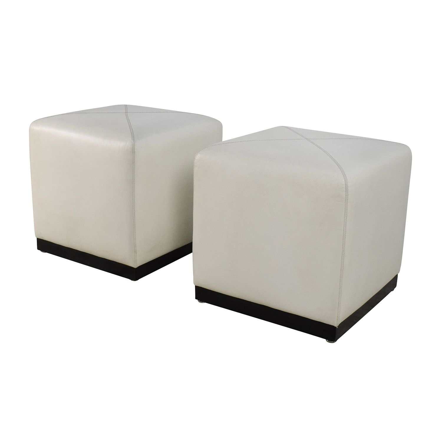68 Off Pair Of White Leather Ottoman Cubes Storage Leather Ottoman White Leather Ottoman Cube Ottoman
