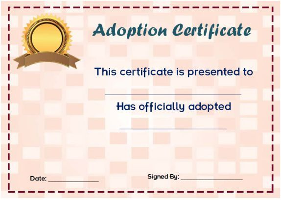 Blank Adoption Certificates  Blank Adoption Certificate Template