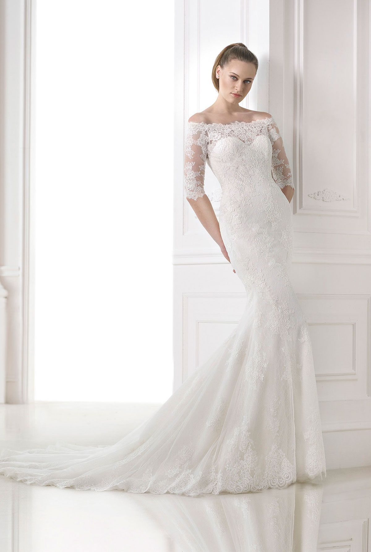 Off the shoulder lace mermaid wedding dress  Pronovias  Mandara  Dress  Pinterest  Wedding dress and Weddings