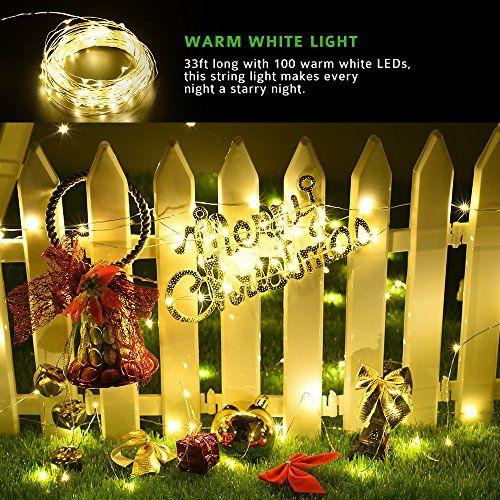 Cymas Outdoor String Lights 100 LED Solar Christmas Fairy lighting Decorative Light [33ft , 2 Packs]