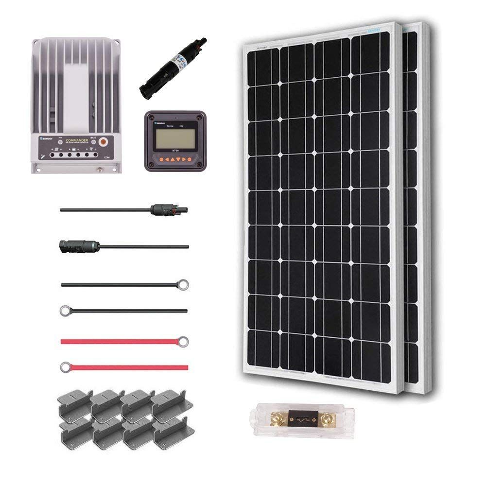 Renogy 200 Watt 12 Volt Solar Premium Kit W 2 Pcs 100w Solar Panel 20a Mppt Charge Controller Solar Cable Solar Fuse Mounting Z Brackets For Rv Boat Off Grid Solar Solar Panels Solar