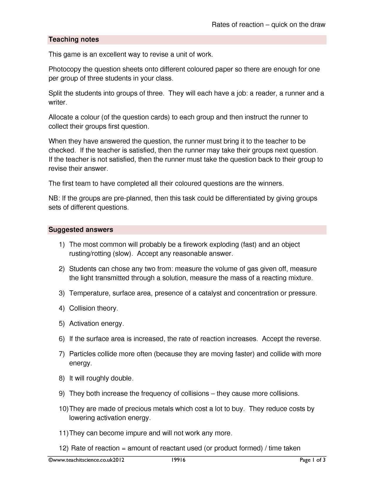 Collision Theory Worksheet Answers Rate Of Chemical Change Search Results Teachit Science Collision Theory Worksheets Answers