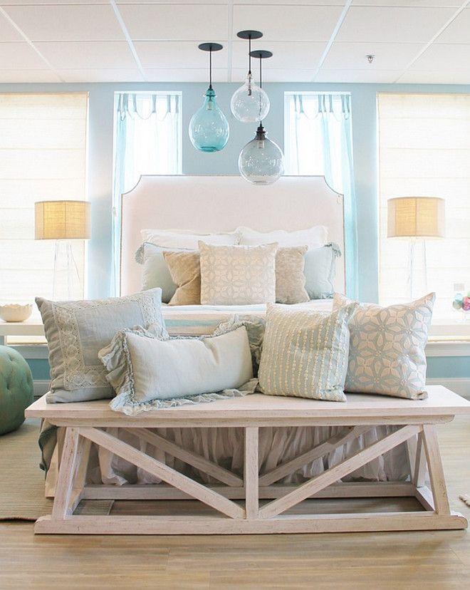Bedroom. Coastal bedroom. Bedroom. Coastal bedroom. Bedroom. Coastal bedroom with turquoise and light blue decor. #Bedroom #Coastal bedroom Welch Company Home + Design