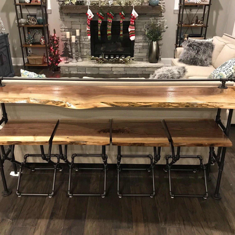 Live Edge Black Walnut Sofa Bar Table 7ft Restaurant Counter Community Cafe Coffee