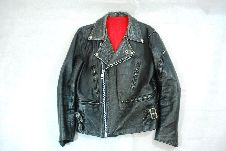 053f66ee251 Vintage British Black Leather Biker Motorcycle Jacket Red Liner ...