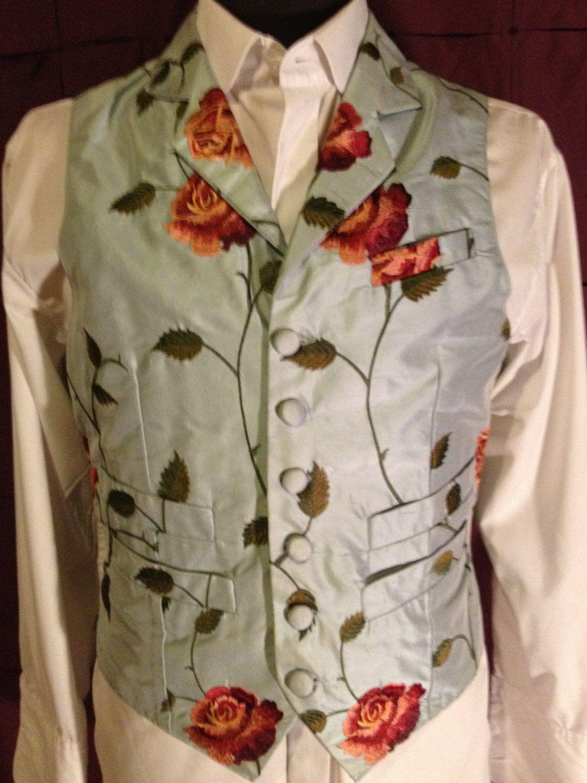 6130a0fe6e Men s vest waistcoat victorian edwardian style wedding formal embroidered  duponi silk charmuese silk back  150